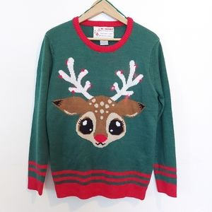 Light-Up Ugly Christmas Sweater Reindeer R…